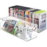 mDesign Household Storage Bin DVDs, PS4 Xbox Video Games - Pack of 2, Large, Clear