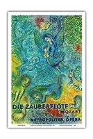 魔笛 - モーツァルト - メトロポリタン・オペラ - ビンテージな広告ポスター によって作成された マルク・シャガール c.1966 - アートポスター - 31cm x 46cm