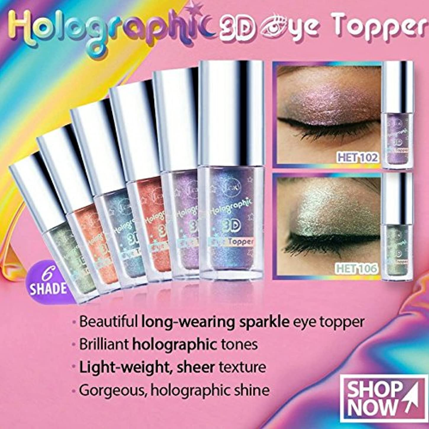 群衆苦行山J. CAT BEAUTY Holographic 3d Eye Topper - Unicorn Hype (並行輸入品)