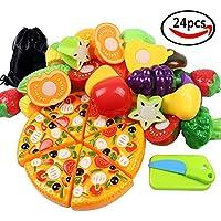 Cocoboo 24個おままごとセット ごっこ遊び キッチン 切れる 野菜 果物 おもちゃ 知育玩具 収納袋付き 二人遊びセット 子供へのプレゼント