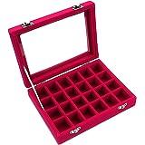 Ivosmart 24 Section Velvet Glass Jewelry Ring Display Organiser Box Tray Holder Earrings Storage Case (Pink)