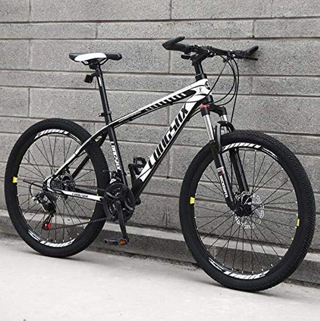 独立リスク放射能成人男性用マウンテンバイク、高炭素鋼フレームMBTバイク、衝撃吸収フロントフォークマウンテン自転車、ダブルディスクブレーキ