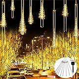 Keeson Solar Falling Rain Drop Light String, 10 Tubes 240 LEDs Meteor Shower Lights Decorative for Garden,Party,Wedding,Home,