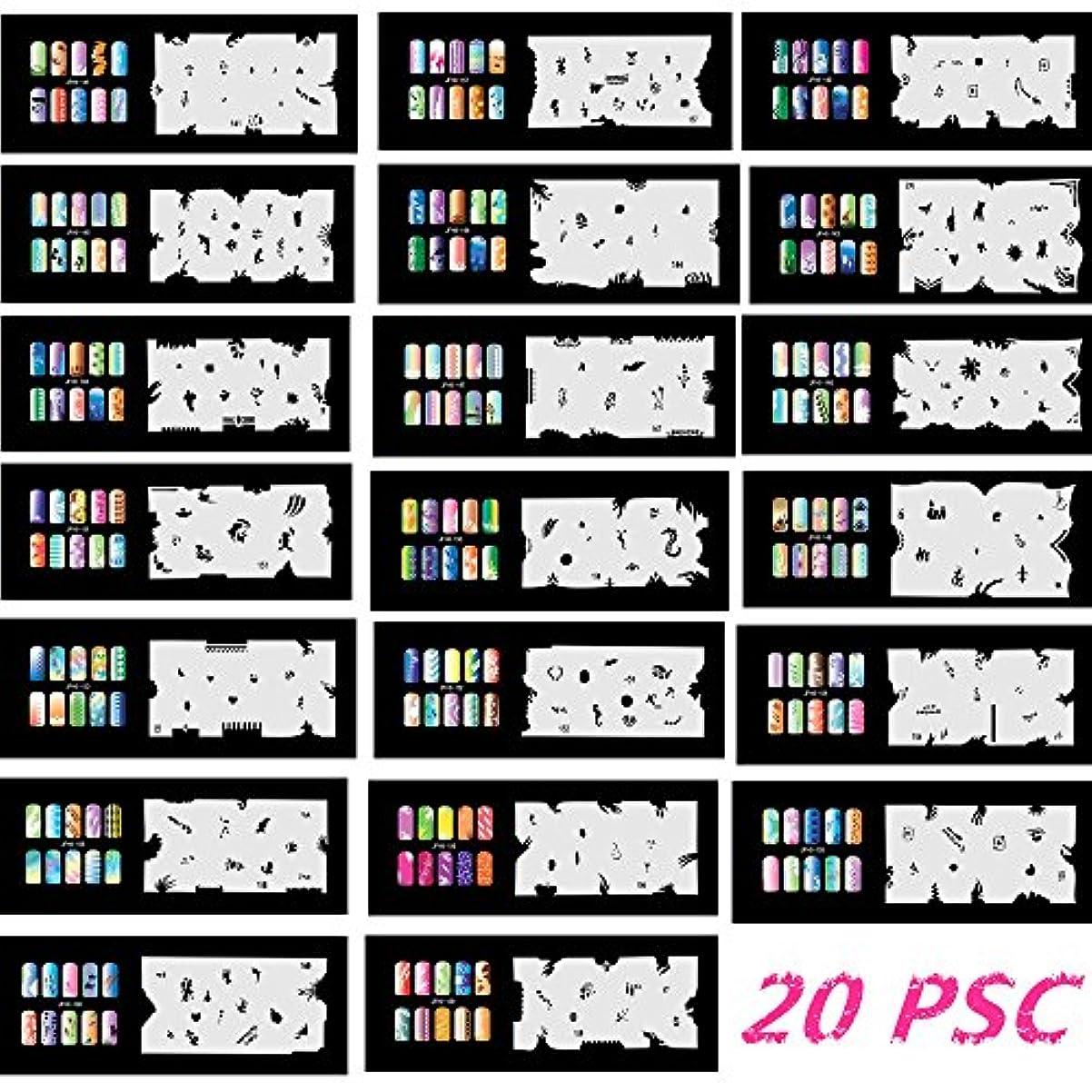 一回価値のない札入れBuyter マニキュアステンシルツールdiyデザインエアブラシ20ピース再利用可能なテンプレートシート用エアブラシキットネイルアートペイントセット (Set 8(141-160))