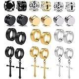 WAINIS 12 Pairs Stainless Steel Non Pierced Magnetic Earrings for Men Women CZ Clip on Dangle Earrings Set