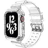 Busybee コンパチブル apple watch バンド アップルウォッチバンド スポーツバンド 一体型交換用ベルト 透明 クリア 耐衝撃ベルト iWatch Series 38mm 40mm 42mm 44mm 6/5/4/3/2/1/SEに対