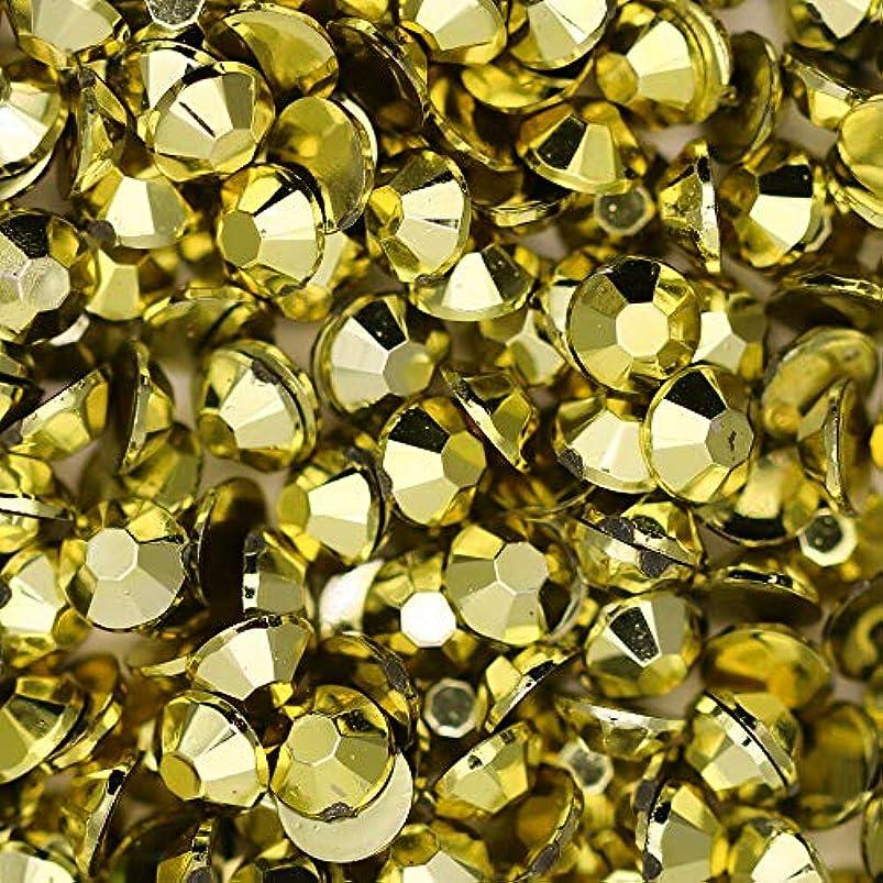矩形テメリティ混合した高級アクリルラインストーン【2mm】【ゴールド】