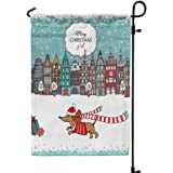 GROOTEY Welcome Garden Flag Home Yard Decorative 12X18 Inches Christmas Card European Color Houses Dog Double Sided Seasonal