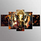 Canvas Painting Wall Art Home,Decor for Living Room HD Prints 5 Pieces Elephant Trunk God Poster Ganesha,Pictures No Frame 40