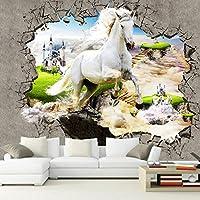3D壁紙写真不織布壁画壁紙家の装飾3Dステレオ馬壊れた壁リビングルームの寝室現代絵画 330cm x 210cm