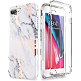 SURITCH Marble iPhone 8 Plus Case/iPhone 7 Plus Case, [Built-in Screen Protector] Full-Body Protection Hard PC Bumper + Gloss