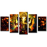 DJSYLIFE-Hindu God Ganesha Wall Art Canvas Printed for Living Room Decorative Painting Modern Home Decor 5pcs HD Print Lord G