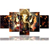TUMOVO Hindu 5 Piece Painting on Canvas, Artwork-01, 60''Wx32''H