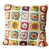 【Unigarden】 手作り 高弾性綿 かぎ針編み カシミヤライン デイジーの花 北欧 田舎 IKEA クッションカバー 小さな新鮮な 腰椎枕かぎ針編み 45X45cm (雏菊花-2)
