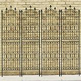 アイアンフェンス Nouveau(ヌーヴォー) ハイタイプ 高さ220cm×幅54cm 4枚セット ブラック SS-DNF220-4P