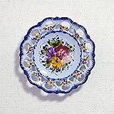 ポルトガル製 アルコバッサ 飾り皿 手描き ブルー 花柄 アズレージョ 絵皿 19cm pfa-477bl