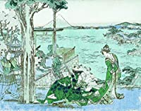 ArtVerse HOK083A2228A Japanese Courtesan In Green with Blue Accents Wood Block Print Removable Art Decal 22 x 28 [並行輸入品]