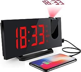 デジタル時計 目覚まし時計 天井投影 大型LED FMラジオ 電源式 ダブルアラーム 三段輝度調節 Mpow 置き時計 卓上時計 大音量 おしゃれ 携帯充電可能 メタル台座 部屋/オフィス/台所用 18ヶ月保証付き [改良版] 76-108MHz 高画質ディスプレイ 15個プリセットメモリー