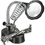 Blesiya Helping Hand Magnifying Glass with LED Lights and Soldering Stand 3X/12X Dual Lens LED Lighted Soldering Stand for So