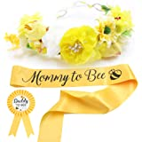 Baby Shower Mom to Bee Sash & Flower Crown & Daddy to Bee Pin Kit - What Will Baby Bee Mommy Sash Pregnancy Sash Baby Shower