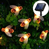 E-Simpo Solar String Lights 20LED 4.8M Outdoor Waterproof Honey Bees Decor for Garden Xmas Decorations Warm White (Warm White