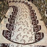 ファッションホーム-階段滑り止めマット ウォッシャブル 洗える 吸着階段マット 草木模様 ベージュ+ブラウン 24CMx64CM(1枚)