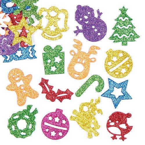 クリスマス キラキラ スポンジシール(60デザイン 120枚入り) クリスマスの工作や手作りカードのデコレーションに たくさん楽しいお得パック