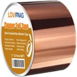 Copper Foil Tape (2inch X 33 FT) with Conductive Adhesive for Guitar & EMI Shielding, Slug Repellent, Crafts, Electrical Repa