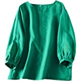 Mordenmiss Women's Linen Tunic Tops Embroidered 3/4 Sleeve V-Neck T-Shirt Blouse