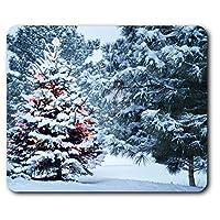快適なマウスマット - 雪に覆われたクリスマスツリー雪コンピュータ&ノートパソコン、オフィス、ギフト、ノンスリップベースのため23.5 X 19.6センチメートル(9.3 X 7.7インチ) - RM2869