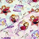 【50cm単位】 アナと雪の女王 幼稚園や小学生に大人気の布  A フロストブルー