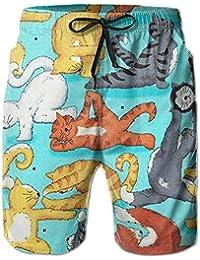 運動の猫 メンズ サーフパンツ 水陸両用 水着 海パン ビーチパンツ 短パン ショーツ ショートパンツ 大きいサイズ ハワイ風 アロハ 大人気 おしゃれ 通気 速乾