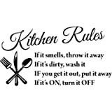"Blinggo Black 22"" X 13"" Kitchen Rules Art Home Mural Décor Vinyl Wall Art Inspirational Quotes and Saying Home Decor Decal St"