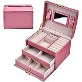XMC Jewelry Organizer Box, Three Layers Jewelry Box for Travel Jewelry Box PU Earring Necklace Display Case with Lock Mirror