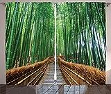 ジャングル・カーテン Ambesonne 装飾 トロピカル 自然 木をくぐりぬける橋 竹 エキゾチックな風景 禅 スパ ヨガ デザイン リビングルーム/ベッドルームの窓用 ドレープ 2パネル・セット 幅108X長さ90インチ グリーン/ブラウン