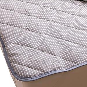 mofua natural 敷きパッド フレンチ リネン 100% セミダブル ブルー 55540202