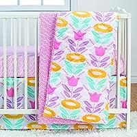Poppi Living 3 Piece Infant Crib Bedding Set, Flower [並行輸入品]