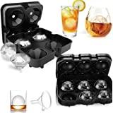 Ice Cube Trays, T Tersely Ice Cube Molds Set of 2, Silicone Ice Ball Maker & Large 3D Diamond Molds with Lids for Whiskey and