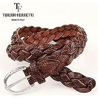 TIBERIO FERRETTI ティベリオフェレッティ リザード型押し レザーメッシュベルト 9828 (ブラウン)GW10