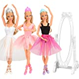 Barwa 10 Accessories for 11.5 Inch 30 cm Dolls: 3 Ballerina Dresses (White + Pink + Purple Black) + 3 PCS Ballerina Shoes + 3