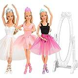 Barwa 10 Accessories for 11.5 Inch 30 cm Dolls: 3 Ballerina Dresses (White + Pink + Purple Black) + 3 PCS Ballerina Shoes + 3