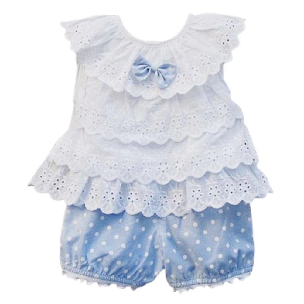 0f0136ec058ee SODIAL 2 Pcs Baby Girls  Ruffle T-Shirt Top+Dot Shorts Suit - Pink 80