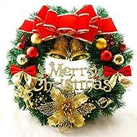 クリスマスリースLEDライト、直径40 cm、人工の赤い果実と松ぼっくりドアリースドアに掛かっているクリスマスの装飾壁ドアリース60cm