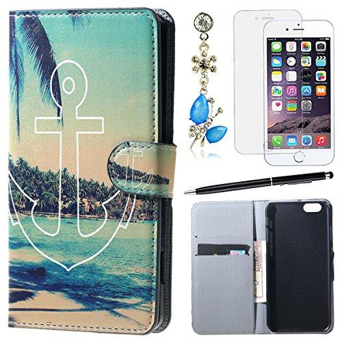 HB-Int 4 IN 1 iPhone6 / iPhone6s ケース 手帳型 合皮 レザー 海 ...