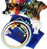 刺しゅうスタートキット【 刺繍糸 47色+お道具・合計9種12点セット 】刺繍で必要なアイテムを一式まとめました/刺繍 初心者・中級~ / 刺繍キット・クロスステッチ [並行輸入品]