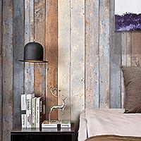 HaokHome 206 ビンテージ木目ウッドパネル壁紙ロールグレー/ベージュ/タン木製プランク壁画ホームキッチンバスルーム装飾