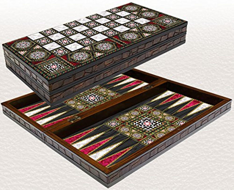 Yenigun Tavla 20インチ 真珠層模様 ラミネート加工 圧縮木材 チェッカー バックギャモンセット
