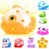 Bath?Toys 8 Pcs?Light Up?Floating?Rubber?animal?Toys?set Flashing Color?Changing?Light in Water?CHIMAGER?Baby?Infants?Kids?To