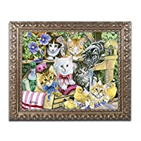 商標FineアートバスタイムKittens by Jenny Newlandの写真史ゴールド装飾フレーム 11x14 ALI1976-G1114F