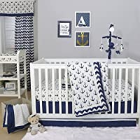 Anchor Nautical 4 Piece Baby Crib Bedding Set in Navy Blue by The Peanut Shell by The Peanut Shell
